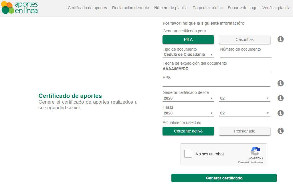 certificado de pago aportes en línea