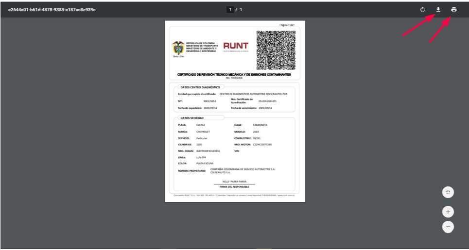 certificado de revision tecnomecanica y de emisiones contaminantes