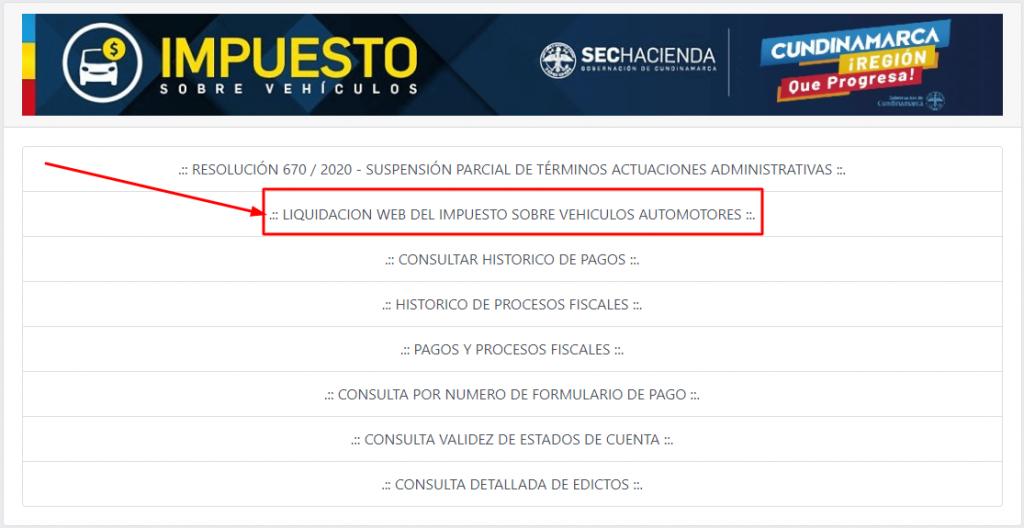 liquidación de impuesto vehículo Bogotá