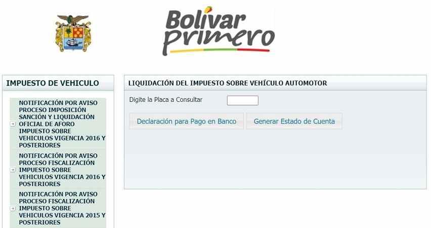 impuesto vehicular bolivar